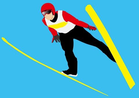 巻き肩の改善に効果的なスキージャンプのポーズ